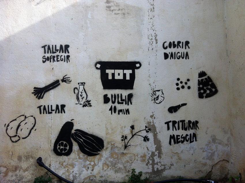taller de grafiti sobre la cocina vegetariana - atelier de graffiti sur la cuisine végétarienne